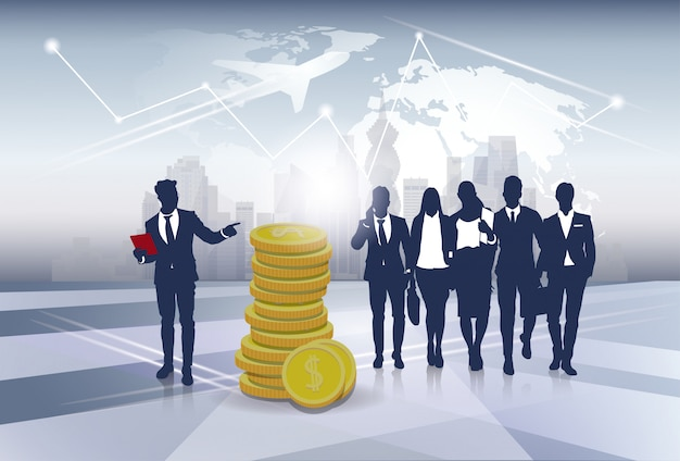 Silhouette business people team success finance argent richesse