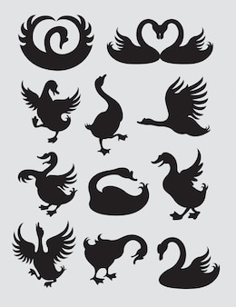 Silhouette de canard et de cygne