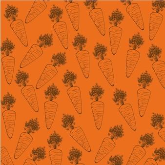 Silhouette de carotte sur illustration vectorielle fond orange