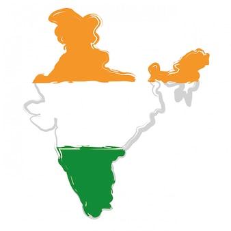 Silhouette de carte de l'inde
