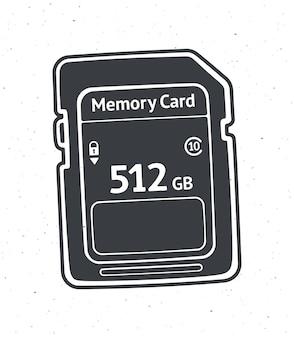 Silhouette de carte mémoire compacte vector illustration lecteur flash