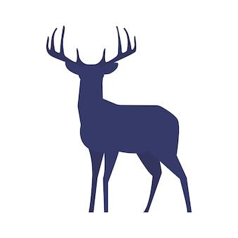 Silhouette de cerf debout sur fond blanc. illustration vectorielle.
