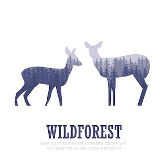 Silhouette d'un cerf avec forêt de pins, fond de couleurs bleu et blanc, illustration vectorielle
