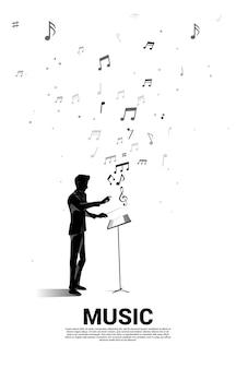 Silhouette de chef d'orchestre debout avec note de musique volante. fond de concept pour le concert et les loisirs d'orchestre.