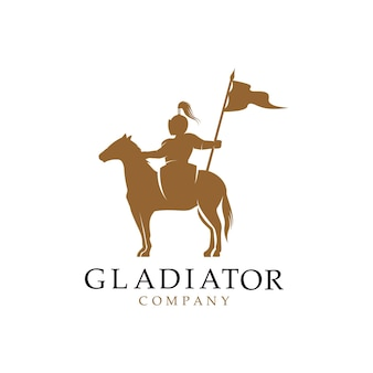 Silhouette de chevalier à cheval, création de logo médiéval paladin guerrier cheval