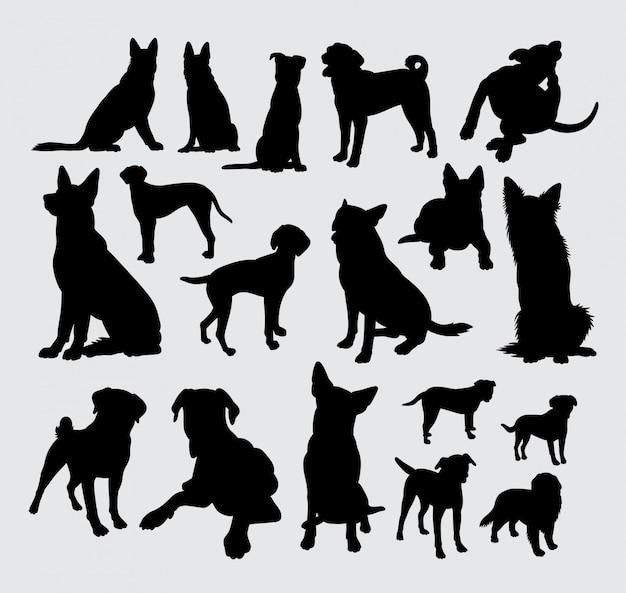 Silhouette de chien berger allemand et dalmatien.