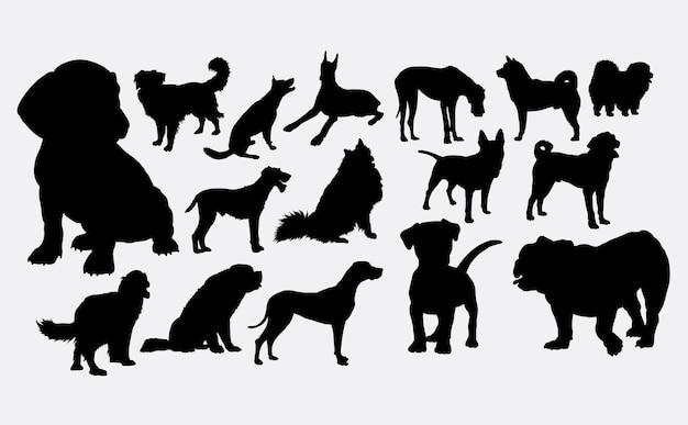 Silhouette de chiot et chien
