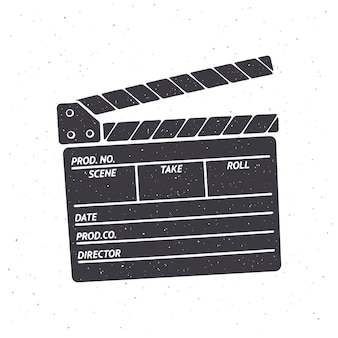 Silhouette de clap ouvert illustration vectorielle symbole de l'industrie cinématographique