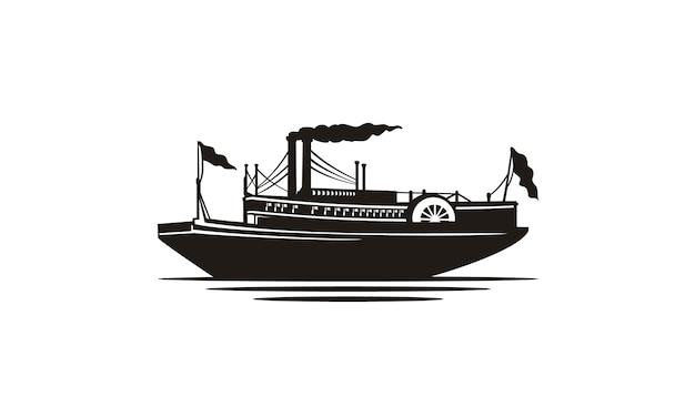 Silhouette classique de bateau à vapeur / bateau à vapeur