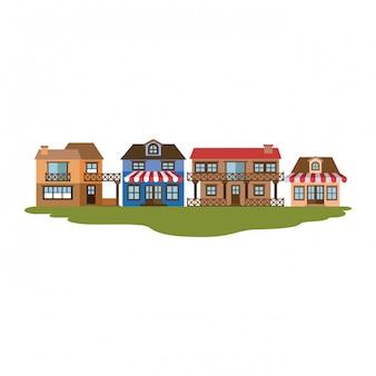 Silhouette colorée de magasin de façade avec auvent et maisons de campagne dans l'herbe