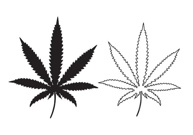 Silhouette de conception de feuille de marijuana et contour