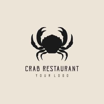 Silhouette de conception de logo abstrait crabe