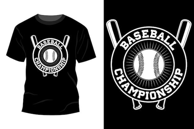 Silhouette de conception de maquette de t-shirt de championnat de baseball