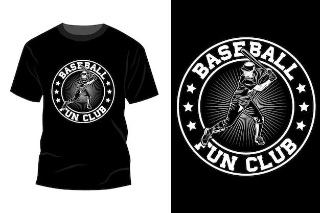 Silhouette de conception de maquette de t-shirt de club d'amusement de baseball
