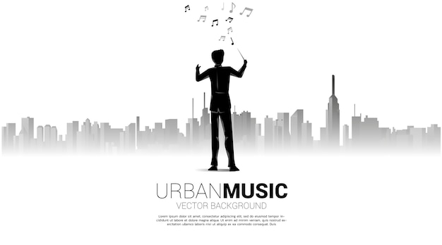Silhouette de conducteur debout avec fond de ville. concept pour la ville de la musique.