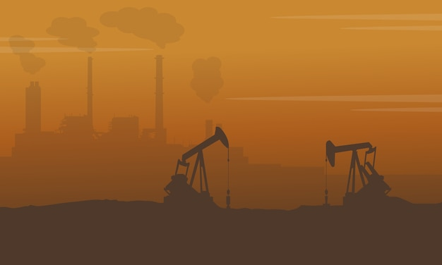 Silhouette de construction avec l'industrie de la pollution