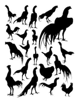Silhouette de coq et de poule