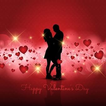 Silhouette d'un couple d'amoureux sur fond saint valentin