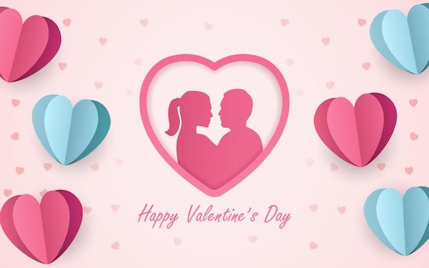 Silhouette couple homme et femme s'embrasser en icône de forme de coeur avec du papier découpé en forme de coeur