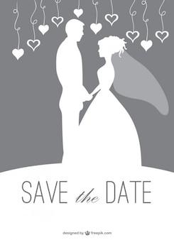 Silhouette couple de mariage invitation