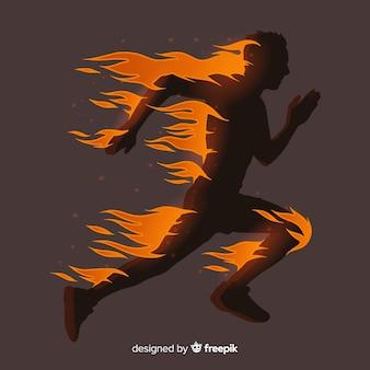 Silhouette de coureur au design plat de flammes