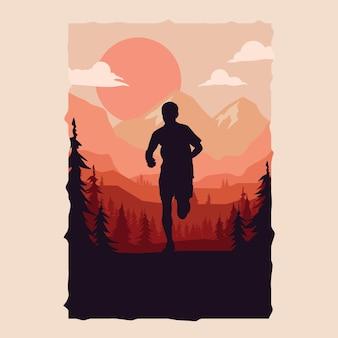 Silhouette de coureur de marathon.