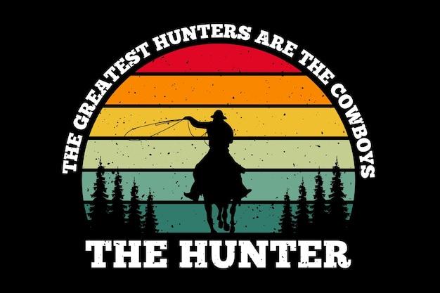 Silhouette cowboy chasseur pin style rétro