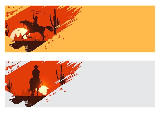 Silhouette d'un cowboys à cheval