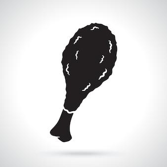 Silhouette de cuisse de poulet frite nourriture malsaine illustration vectorielle