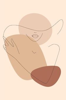 Silhouette de dame élégante dans un chapeau.