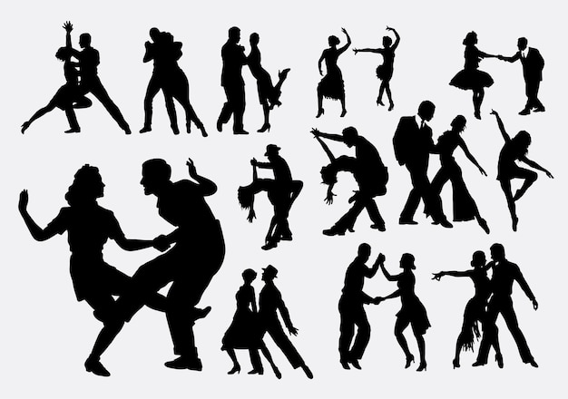 Silhouette de danse tango et salsa
