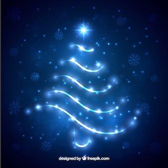 Silhouette de sapin de Noël brillant