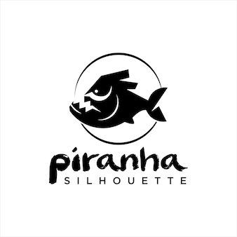 Silhouette de dessin animé noir design piranha noir