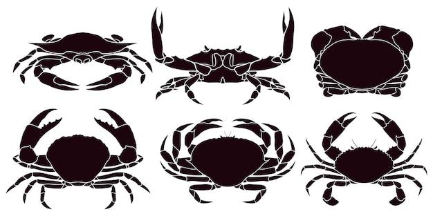 Silhouette dessinée de crabe à la main