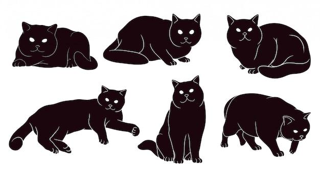 Silhouette dessinée à la main de chat britannique