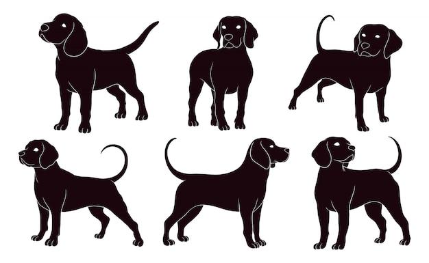 Silhouette dessinée à la main de chien beagle