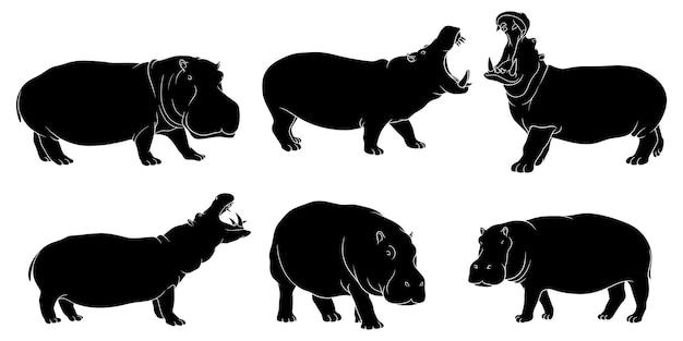 Silhouette Dessinée à La Main D'hippopotame Vecteur Premium