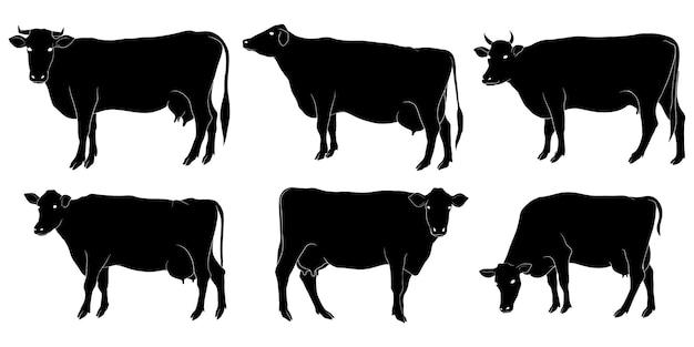 Silhouette dessinée de vache à la main