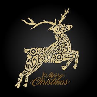 Silhouette dorée de la forêt sautant ou du cerf du nord sur fond noir et remplie de motifs décoratifs avec le signe joyeux noël. parfait à utiliser sur des cartes de vœux, des bannières, des dépliants et des cartes postales