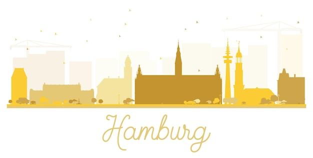 Silhouette dorée d'horizon de ville de hambourg. illustration vectorielle. concept plat simple pour la présentation touristique, la bannière, la pancarte ou le site web. concept de voyage d'affaires. paysage urbain avec monuments