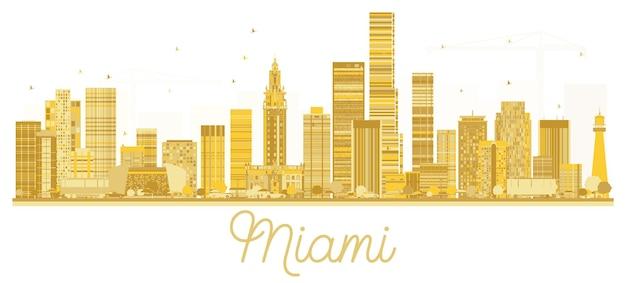 Silhouette dorée d'horizon de ville de miami usa. illustration vectorielle. concept plat simple pour la présentation touristique, la bannière, la pancarte ou le site web. concept de voyage d'affaires. paysage urbain avec des points de repère.