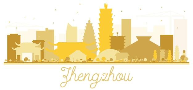 Silhouette dorée d'horizon de ville de zhengzhou. illustration vectorielle. concept plat simple pour la présentation touristique, la bannière, la pancarte ou le site web. paysage urbain de zhengzhou avec des points de repère.