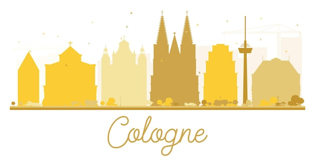 Silhouette dorée des toits de la ville de cologne. illustration vectorielle. concept plat simple pour la présentation touristique, la bannière, la pancarte ou le site web. paysage urbain avec monuments