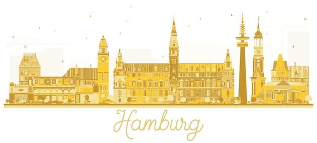Silhouette dorée des toits de la ville de hambourg illustration vectorielle