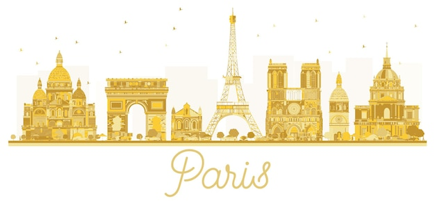 Silhouette dorée des toits de la ville de paris. illustration vectorielle. concept de voyage d'affaires. paris isolé sur fond blanc.