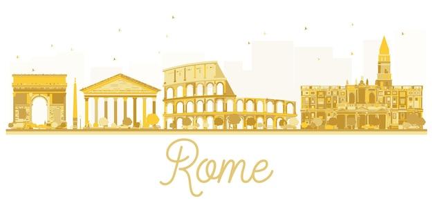Silhouette dorée des toits de la ville de rome. illustration vectorielle. concept de voyage d'affaires. paysage urbain de rome avec des points de repère.