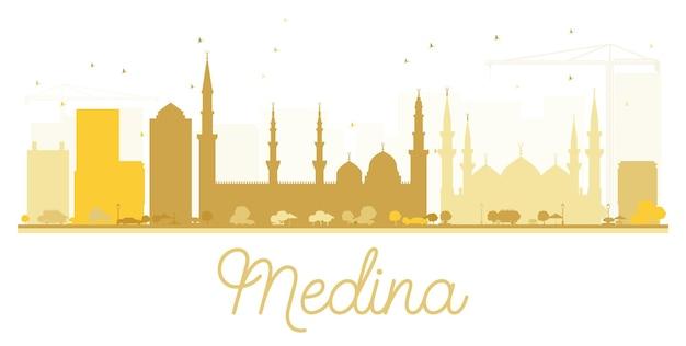 Silhouette dorée de la ville de médina. illustration vectorielle. concept plat simple pour la présentation touristique, la bannière, la pancarte ou le site web. paysage urbain avec monuments