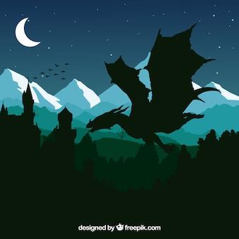 Silhouette du château et dragon volant