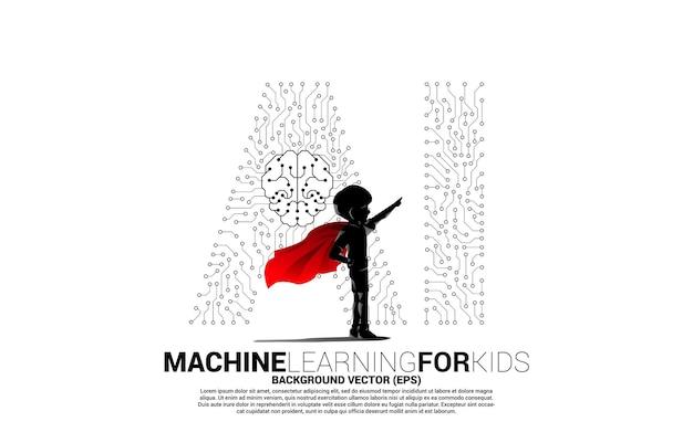 Silhouette d'enfant en costume de super-héros avec point de connexion en forme d'ia et centre d'icônes du cerveau. concept d'apprentissage automatique et d'intelligence artificielle pour l'avenir.