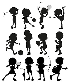 Silhouette enfants jouant au sport